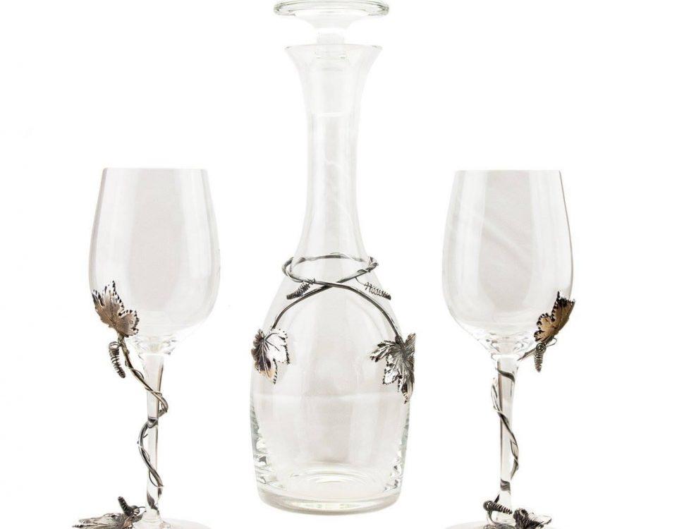 Wijn karaf met zilveren montuur